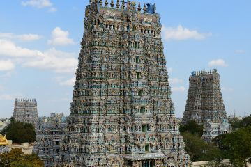 Meenakshi Sundareswarar Temple in Madurai. Tamil Nadu India. It is a twin temple one of which is dedicated to Meenakshi and the other to Lord Sundareswarar